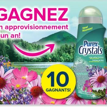 purex crystals concours 350x350 - Concours Purex: Gagnez 1 des 10 approvisionnements d'un an de Purex Crystals
