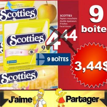 scooties 344 350x350 - 9 boîtes de papiers mouchoirs SCOTTIES double épaisseurs à 3,44$ (après coupon)