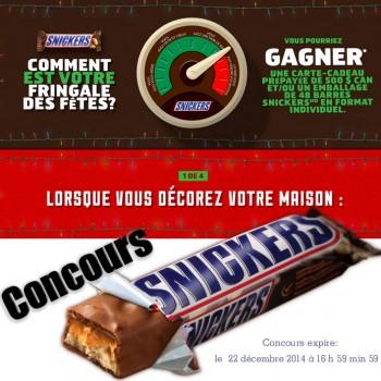 snickers concours 350x350 - Concours Snickers: Gagnez une carte-cadeau prépayée de 500$ ou un emballage de 48 barres Snickers en format individuel