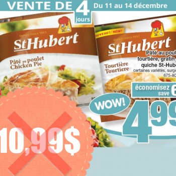 st hubert 499 350x350 - Paté au poulet, tourtière, gratin ou quiche St-Hubert à 4,99$ au lieu de 10,99$ (sans coupon)