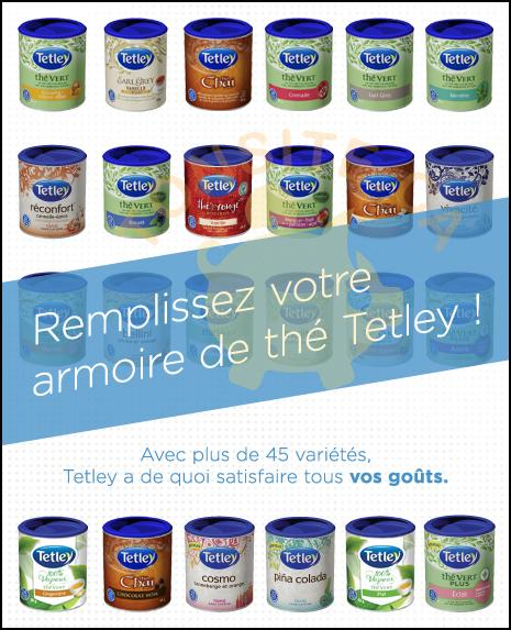 tetley coupon - Coupon rabais: Achetez 2 boîtes rondes de thé Tetley et obtenez-en une autre gratuitement