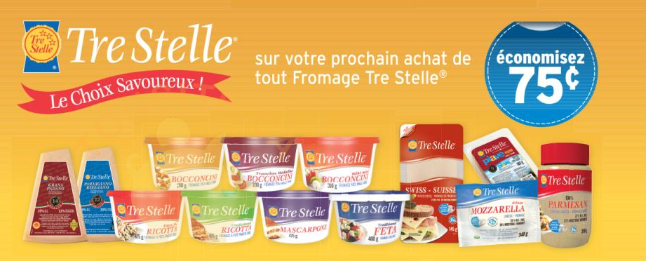 tre stelle coupon - Coupon rabais de 75¢ sur tout fromage Tre Stelle