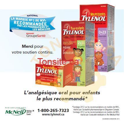 tylenol - Produits Tylenol pour enfants à 2,54$ aprés rabais postal.