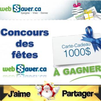 websaver concours 350x350 - Concours des fêtes Websaver: Gagnez une carte-cadeau de 1000$