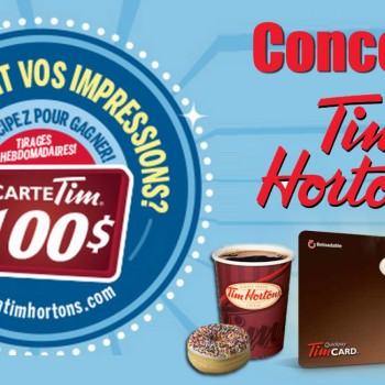 timhortons concours2015 350x350 - Concours Tim Hortons 2015: Gagnez 1 des 52 cartes-cadeaux de 100$