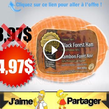 jambon 497 350x350 - Emballage de Jambon forêt noir (900g) à 4,97$ au lieu de 8,97$ (sans coupon)