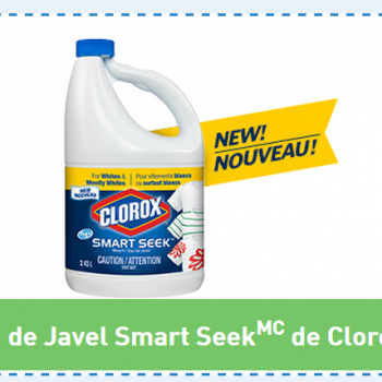 javel clorox 350x350 - Coupon rabais de 1$ sur l'eau de javel Smart Seek de Clorox