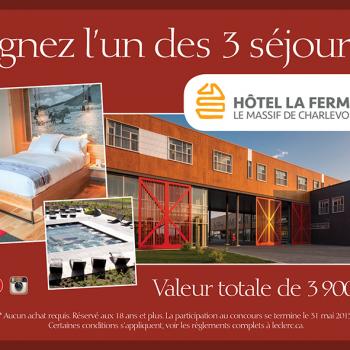leclerc concours2 350x350 - Concours Leclerc: Gagnez l'un des 3 séjours à Hôtel La Ferme Le Massif de Charlevoix