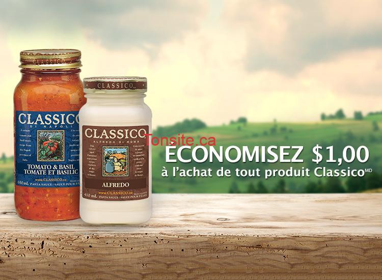 CLASSICO COUPON - Coupon rabais de 1$ sur tout produit Classico