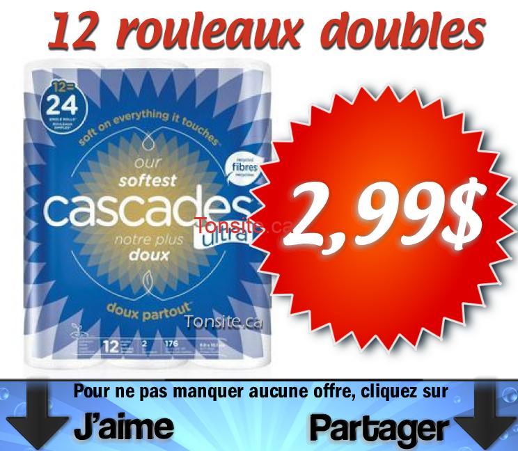 cascades 299 kpg - Papier hygiénique Cascades (12 rouleaux doubles) à 2,99$