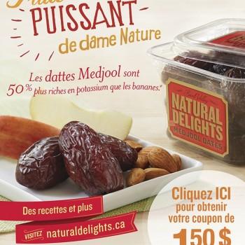dattes1 350x350 - Coupon rabais de 1,50$ sur les dattes Medjool Natural Delights