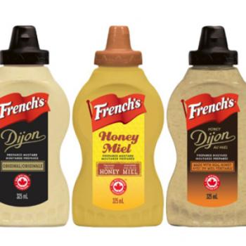 frenchs moutard 350x350 - Coupon rabais de 50¢ sur une bouteille de moutarde de Dijon, au miel, de Dijon au miel, préparée au raifort, Bold & Spicy ou à l'oignon sucré French's