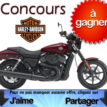 harley concours 350x350 - Concours Harley-Davidson: Gagnez une motocyclette Harley-Davidson Street 750