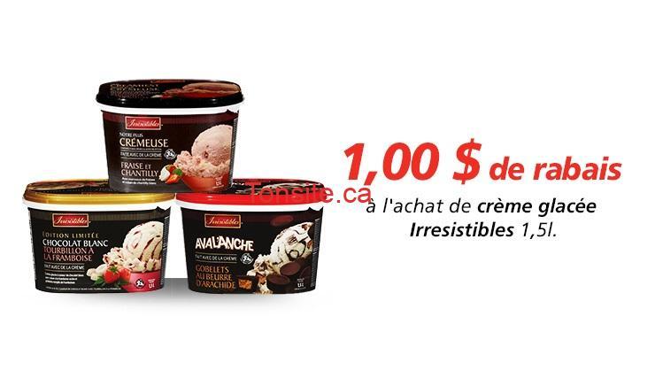 irresistible cremeglacee coupon - Coupon rabais de 1$ sur la crème glacée Irresistibles 1,5L