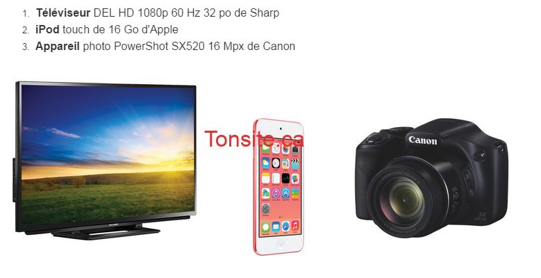 loca - Gagnez un téléviseur Del ou un iPod touch ou un appareil photo