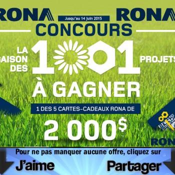 rona concours 350x350 - Concours Rona: Gagnez 1 des 5 cartes-cadeaux Rona de 2000$