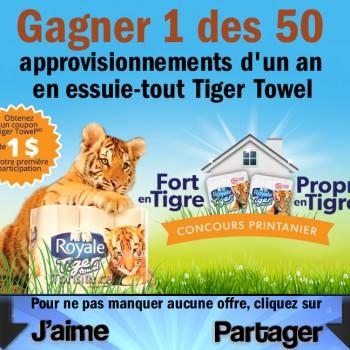 royale tiger concours 350x350 - Concours Royale tiger Towe: Gagner 1 des 50 approvisionnements d'un an en essuie-tout Tiger Towel + Coupon rabais de 1$