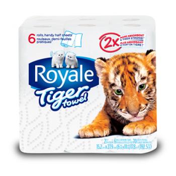 royaletiger1 350x350 - 6 rouleaux de papier essuie-tout à 2,99$ au lieu de 4,99$
