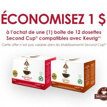 second cup 350x350 - Coupon rabais de 1$ sur les capsules Second Cup pour Keurig!