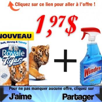 windex royale 350x350 - Bouteille Windex et emballage d'essuie-tout Royal Tiger à 1,97$