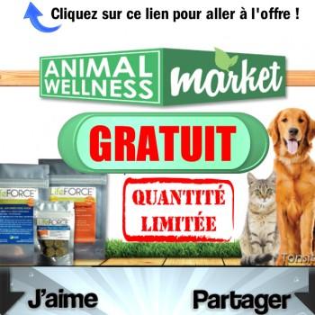 ANIMAL WELLNESS FREE 350x350 - Gratuit: Obtenez un kit de 3 sacs de nourriture pour chien ou chat Animal Wellness