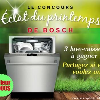 bosch concours printemps 2015 350x350 - Concours Bosch: Gagnez 1 des 3 lave-vaisselle Bosch (valeur de 2000$)