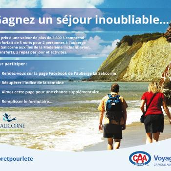 caa quebec concours 350x350 - Concours CAA-Québec: Gagnez un forfait de 5 nuits tout inclus pour 2 aux îles de Madeleine