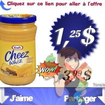 cheez whiz 125 350x350 - Préparation fondu du fromage Kraft Cheez Whiz (450g) à 1,25$ au lieu de 3.99$