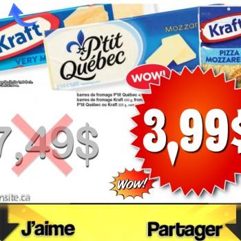 fromage 399 350x350 - Barres de fromage et fromage râpé P'tit Québec et Kraft à 3,99$ au lieu de 7,49$