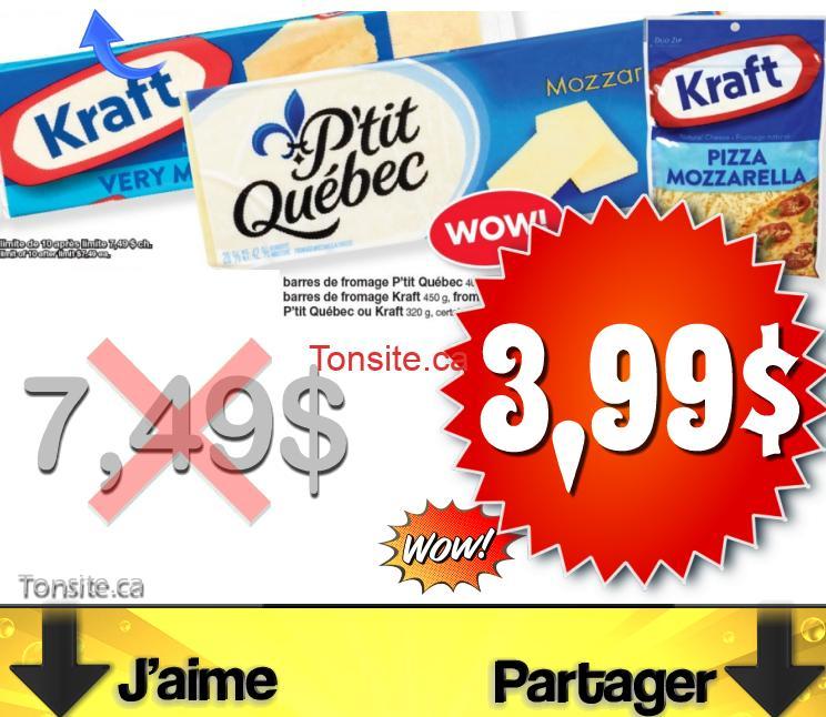 fromage 399 - Barres de fromage et fromage râpé P'tit Québec et Kraft à 3,99$ au lieu de 7,49$