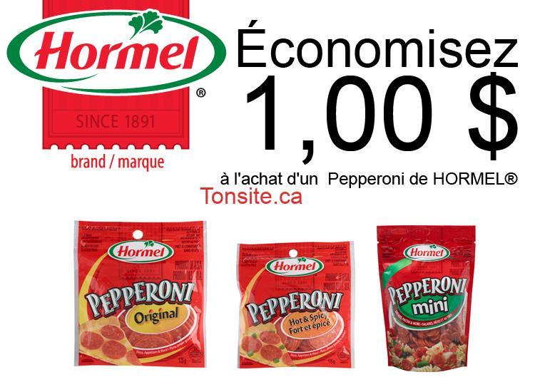 hormel1 - Coupon rabais de 1$ sur un Pepperoni de Hormel
