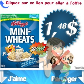 mini weats 1.48 350x350 - Céréales Mini-Wheats de Kellogg's à 1.48$ au lieu de 6.79$