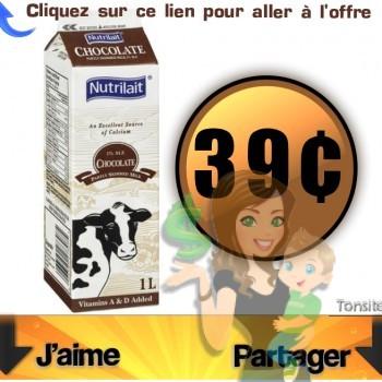nutrilait chocolat 39 350x350 - contenant du lait au chocolat Nutrilait à 39¢ seulement!