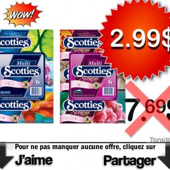 scotties 299 jpg 350x350 - Emballage de 6 boîtes de papiers-mouchoirs Scotties à 2,99$ au lieu de 7,69$