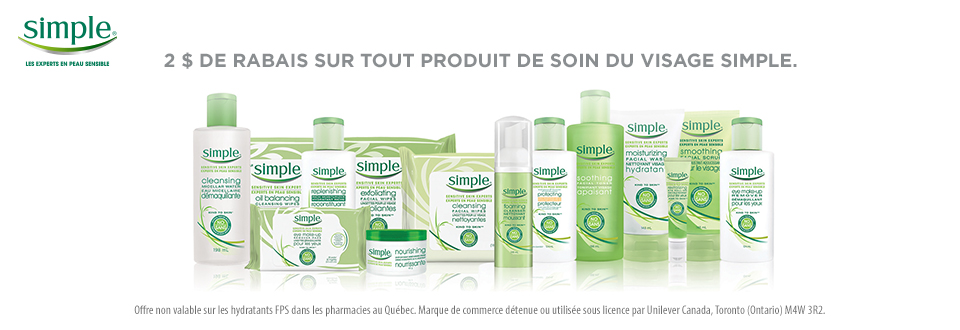 SIMPLE2DOLAR - Coupon rabais de 2$ sur tout produit de soin du visage Simple