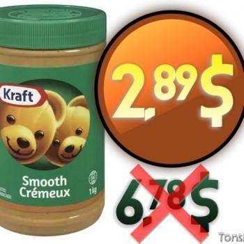 beurre arachide 2 89 350x350 - Beurre d'arachide Kraft à 2.89$ au lieu de 6.78$