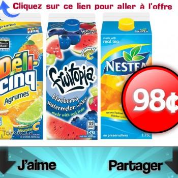 boissons 98 350x350 - Les boissons Nestea, Fruitopia ou Déli-Cinq de 1,75L à 98¢ seulement