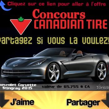 canadiantire concours 1 1 350x350 - Concours Canadian Tire: Gagnez une Chevrolet Corvette Stingray 2015 (valeur de 65.755 $ CA)