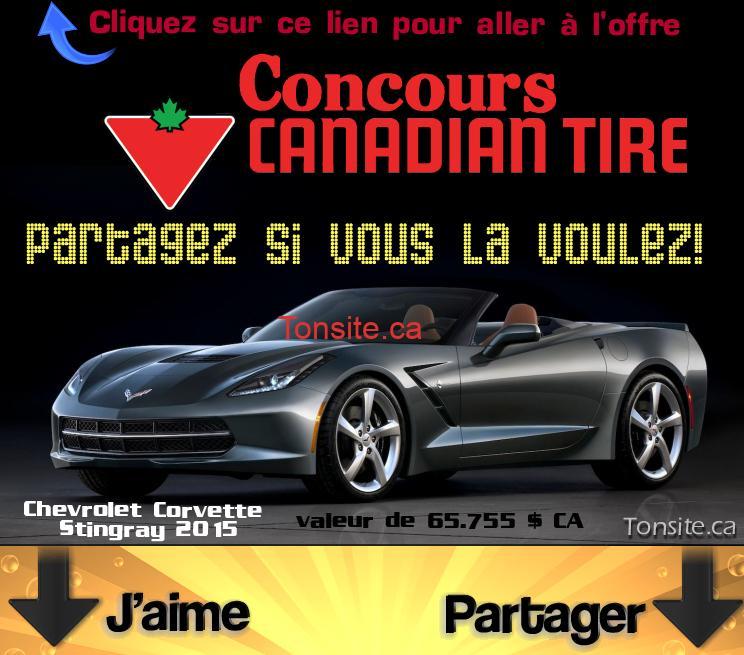 canadiantire concours 1 1 - Concours Canadian Tire: Gagnez une Chevrolet Corvette Stingray 2015 (valeur de 65.755 $ CA)