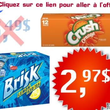 crush brisk1 350x350 - Boissons gazeuses Crush ou thé glacé Brisk à 2,97$ au lieu de 5,49$