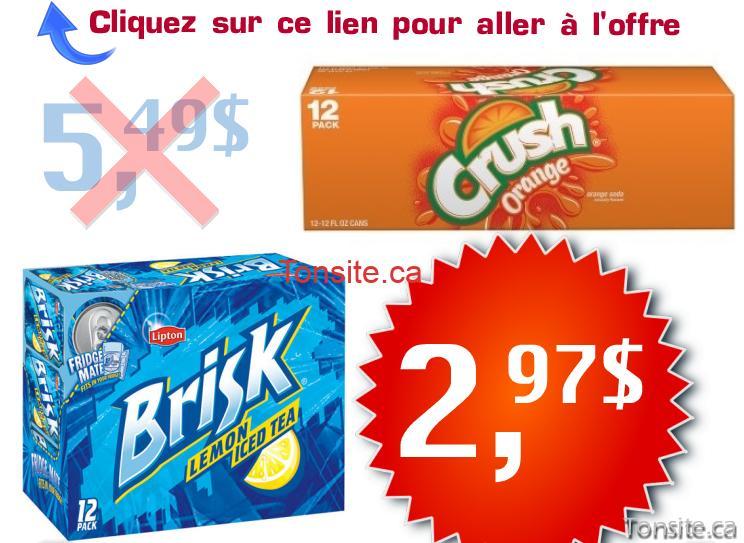 crush brisk1 - Boissons gazeuses Crush ou thé glacé Brisk à 2,97$ au lieu de 5,49$