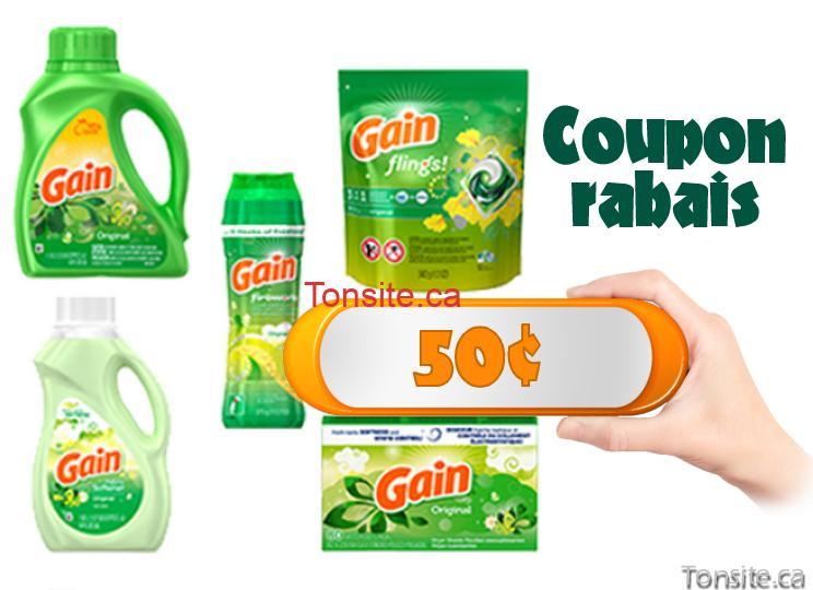 gain coupon 50 - Coupon rabais de 50¢ sur un produit pour la lessive Gain, au choix