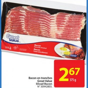 great value bacon jpg 350x350 - Bacon en tranches Great Value à 2,67$ seulement