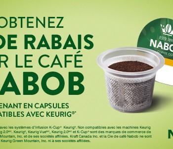 nabob 350x300 - Coupon rabais de 2$ sur une boîte de 12 godets de café NABOB compatibles avec Keurig, au choix