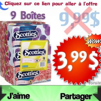 scotties 3 99 jpg 350x350 - 9 Boîtes du papier mouchoirs Scotties (double épaisseurs) à 3,44$ au lieu de 9,99$
