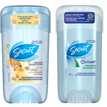 secret deodorant 350x350 - Antisudorifique Secret GRATUIT + 34¢ dans vos poches