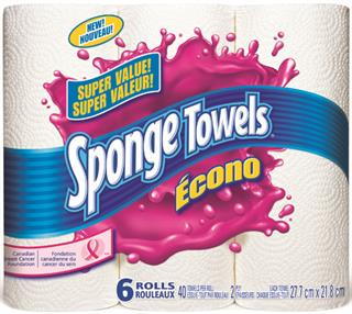 sponge towels econo - 6 rouleaux d'essuie-tout Sponge Towel à 2.79$ seulement