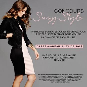 suzy concours 350x350 - Concours Suzy Shier: Gagnez 1 des 12 cartes-cadeaux de 100$ Suzy Shier