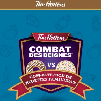 tim hortons combat des beignes 350x350 - Concours Tim Hortons: Gagnez 10.000$ et une carte Tim d'une valeur de 1000$