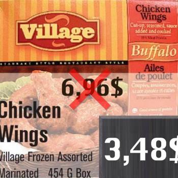 village 3 48 jpg 350x350 - Emballage d'ailes de poulet Village (454g) à 3,48$ au lieu de 6,96$